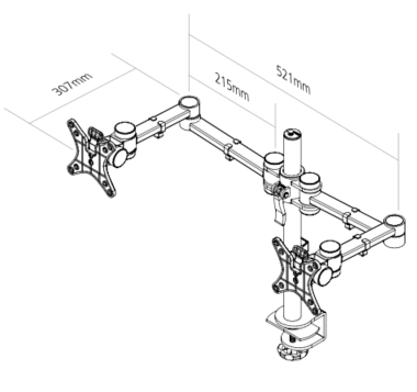 Vision S Monitor Arm Dimensions