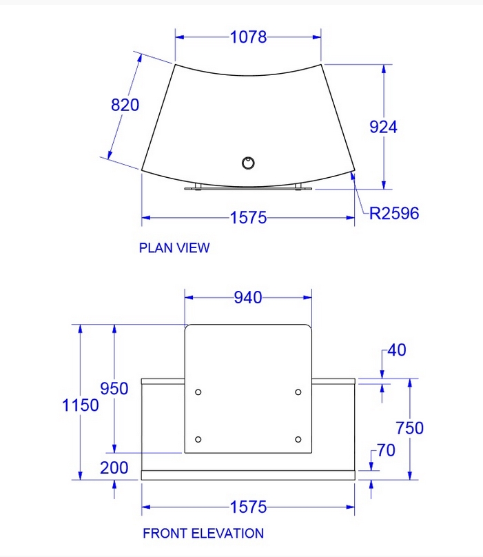 Zed Reception Desk Dimensions