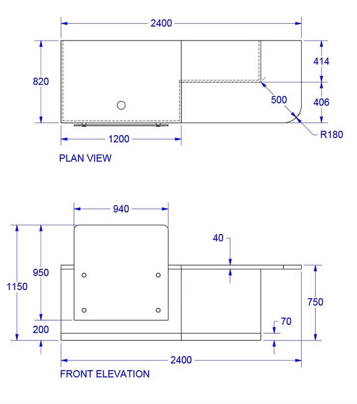 Zed-Shield Reception Desk Dimensions