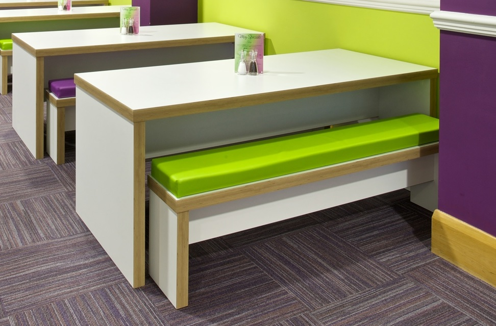 Block Breakout Benches with optional upholstered seat pads