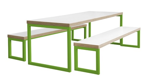 Block Steel Colour Breakout Table And Bench