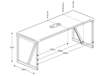 Block Wood Table and Power Table Dimensions