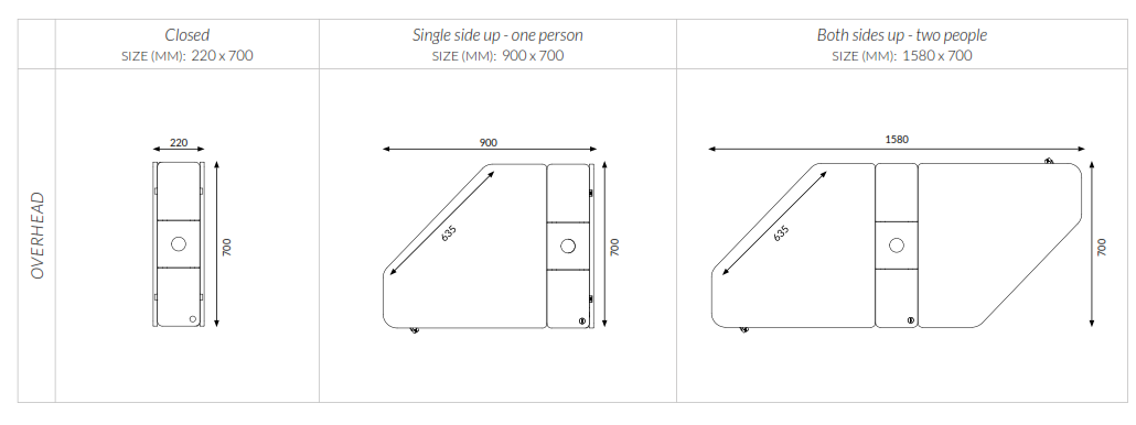 Drop Folding Desk Dimensions