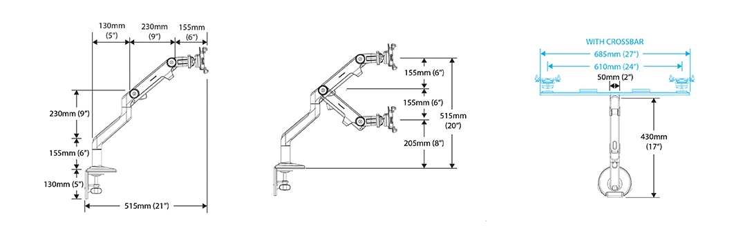 Humanscale M8 Monitor Arm Specification