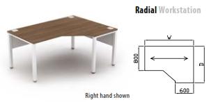 800mm Deep Radial Workstation