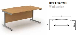 Sirius Cantilever Desking Bow Front VDU