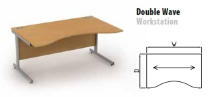 Sirius Cantilever Desking Double Wave Workstation