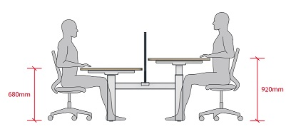 Move Height Adjustable Desks - Crank Height Adjustment Range