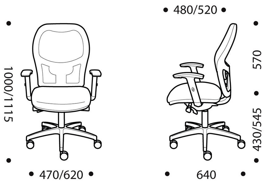Zel Task Chair Dimensions