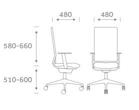 High Mesh Back Task Chair Dimensions