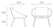 Dishy Soft Seating - DISHY1/4LEG Dimensions