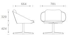 Dishy Soft Seating - DISHY1/SWIVEL Dimensions