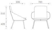 Dishy Soft Seating - DISHY2/4LEG Dimensions