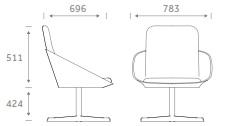 Dishy Soft Seating - DISHY2/SWIVEL Dimensions