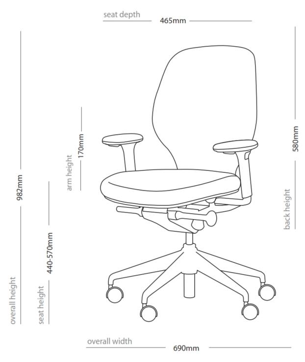 Ara Task Chair Dimensions