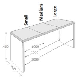 Axiom Table & Bench Dimensions