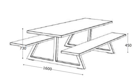 Nova Bench Table Dimensions