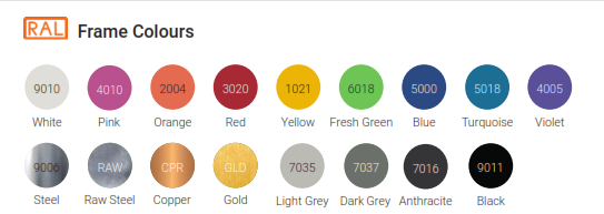 Nova Bench Table Frame Colours