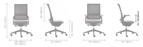 Ecoflex Task Chair Dimensions