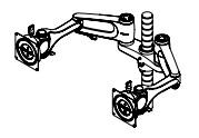 Wishbone Plus Monitor Arms On Dual Mount Bracket